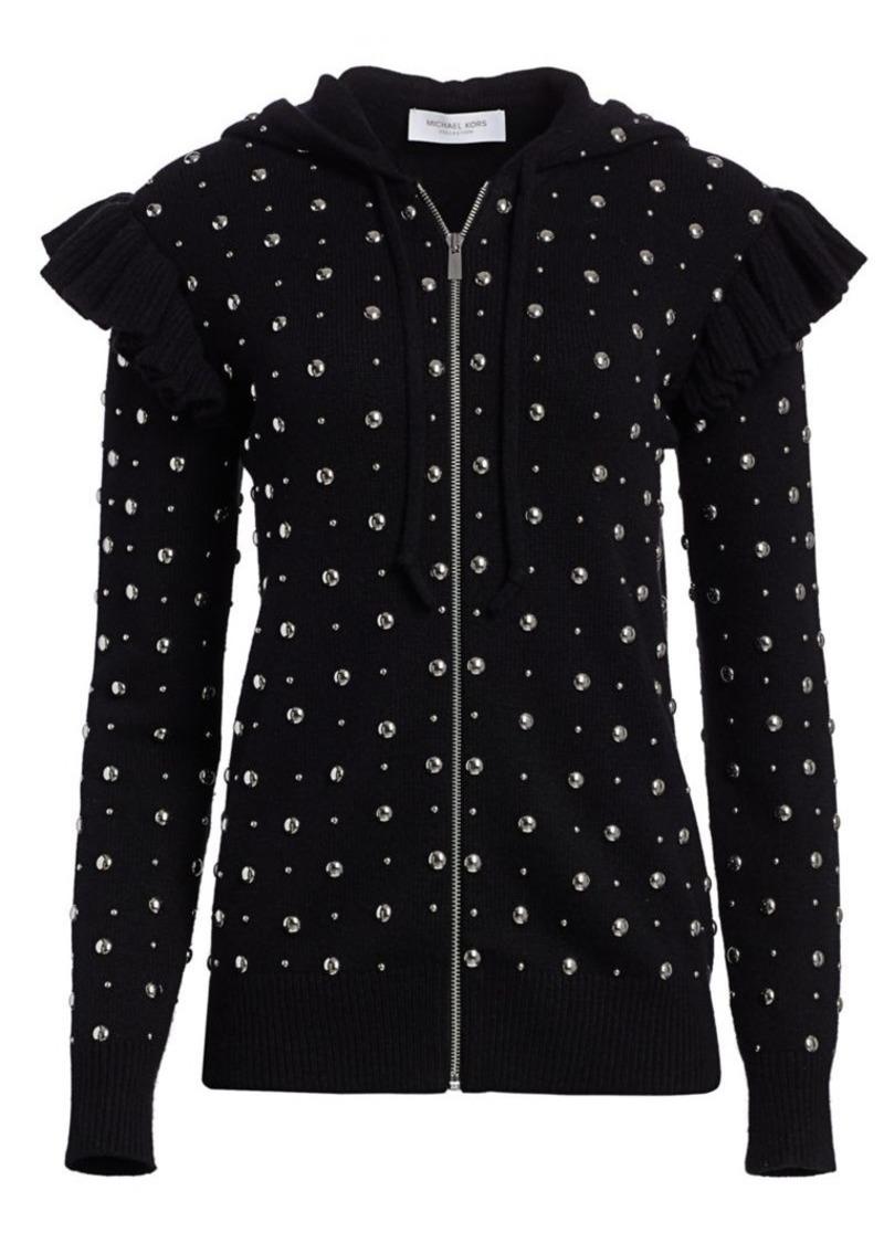 Michael Kors Studded Ruffle Cashmere Knit Jacket
