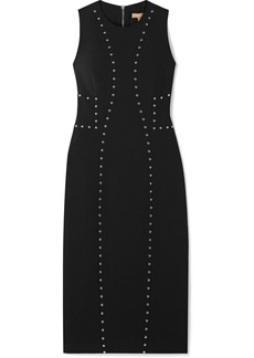 Michael Kors Studded Wool-blend Crepe Dress
