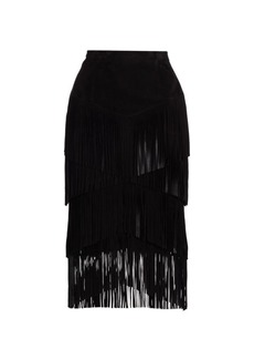 Michael Kors Suede Fringe Tiered Pencil Skirt