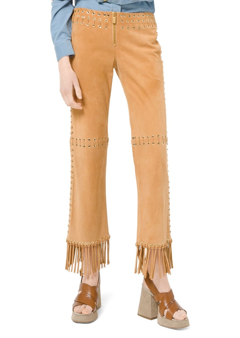 Michael Kors Suede Whipstitch Fringe Pants