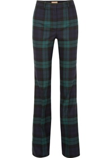 Michael Kors Tartan Wool-blend Flared Pants