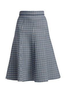 Michael Kors Tattersall Stretch-Wool Midi Skirt