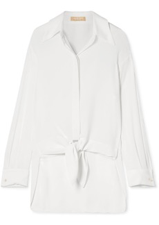 Michael Kors Tie-front Silk-georgette Shirt