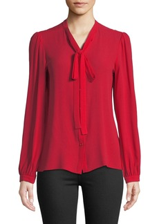 Michael Kors Tie-Neck Button-Front Silk Blouse