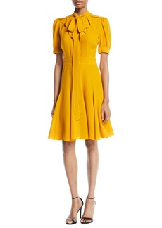 Michael Kors Tie-Neck Short-Sleeve Fit-and-Flare Silk Dress
