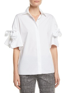 Michael Kors Tie-Sleeve Button-Front Cotton Poplin Shirt