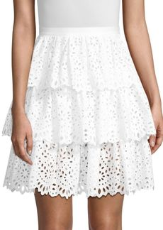 Michael Kors Tiered Floral Eyelet Skirt