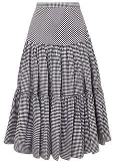 Michael Kors Tiered Gingham Cotton-poplin Maxi Skirt