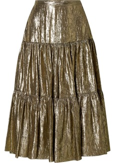 Michael Kors Tiered Metallic Silk-blend Lamé Midi Skirt