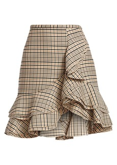 Michael Kors Tiered Ruffle Plaid Stretch-Wool Skirt