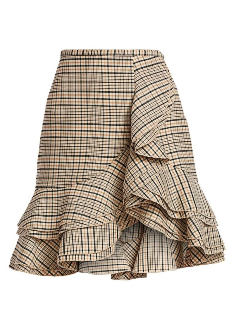Michael Kors Tiered Ruffle Plaid Stretch-Wool Skirt