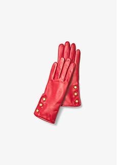 Michael Kors Triple-Button Leather Gloves