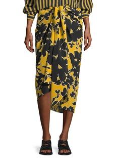 Michael Kors Tropical Floral-Print Sarong Skirt