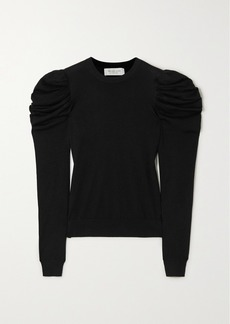 Michael Kors Tropical Ruched Wool, Silk And Cashmere-blend Sweater