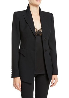 Michael Kors Two-Button Peak-Lapel Crepe Sable Blazer