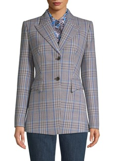 Michael Kors Two-Button Plaid Blazer