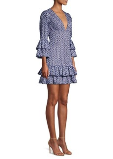 Michael Kors Two-Tier V-Neck Floral Eyelet Dress