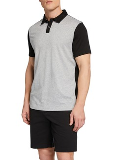 Michael Kors Two-Tone Half-Button Pullover Polo
