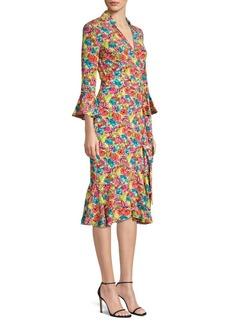 Michael Kors V-Neck Floral Drape Dress