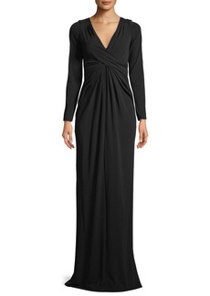 V-Neck Long-Sleeve Twist-Front Column Evening Gown