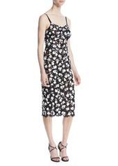 Michael Kors V-Neck Sleeveless Floral Lace Guipure Rose-Embroidered Slip Midi Dress