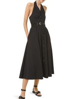 Michael Kors Belted Virgin Wool Halter Shirtdress