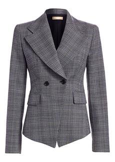 Michael Kors Virgin Wool Plaid Cutaway Jacket