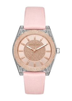 Michael Kors Women's Channing Croc Embossed Silicone Strap Watch, 40mm
