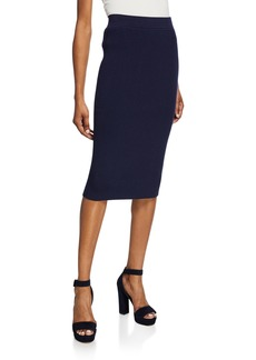 Michael Kors Wool-Blend Ribbed Pencil Skirt