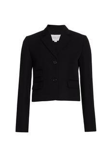 Michael Kors Wool Gabardine Cropped Jacket