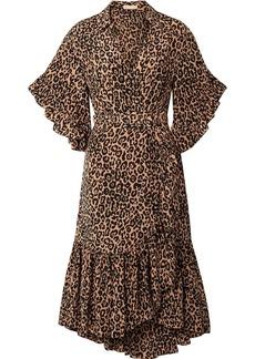 Michael Kors Wrap-effect Leopard-print Silk Crepe De Chine Dress