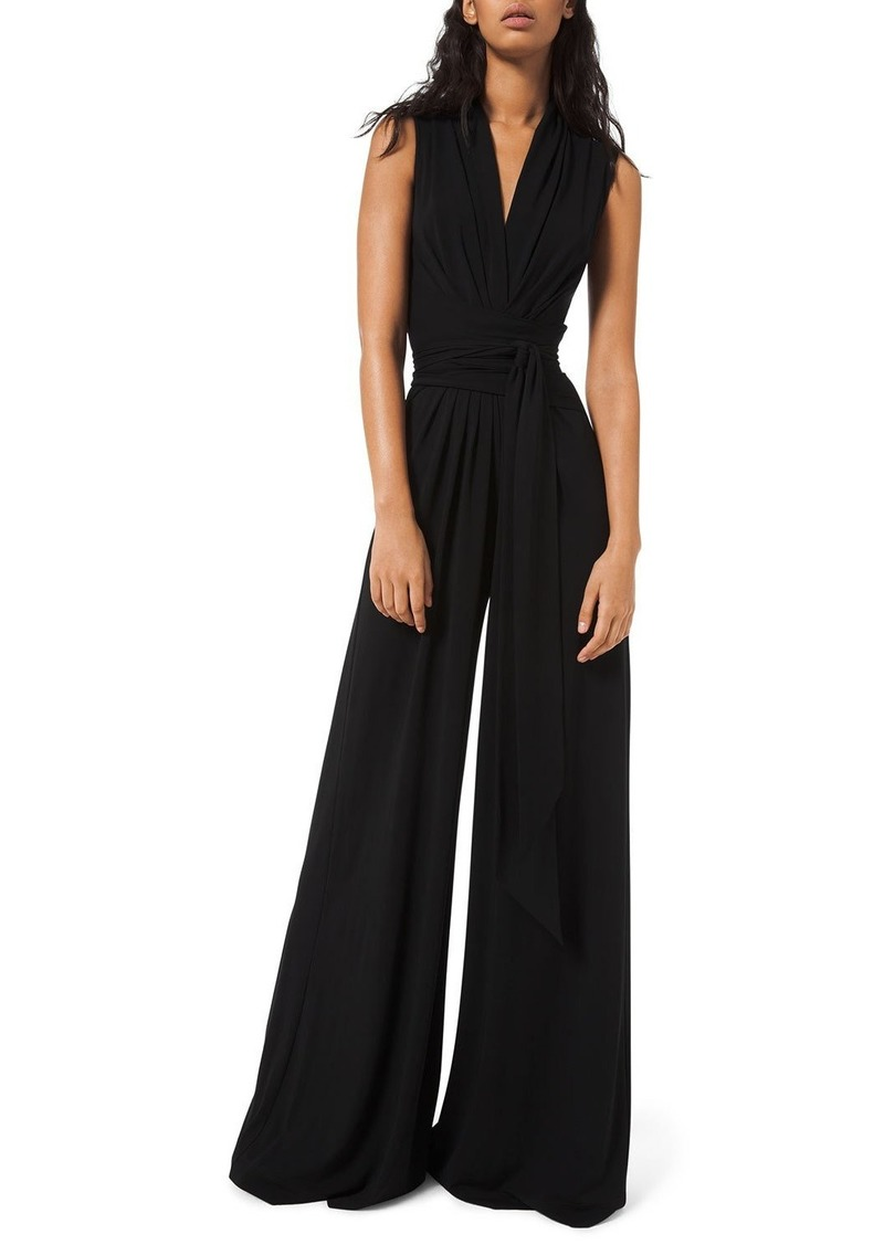 Michael Kors Wrapped Jersey Palazzo Jumpsuit