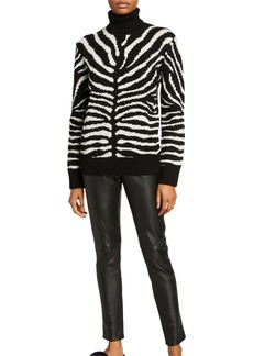 Michael Kors Zebra-Intarsia Cashmere Turtleneck Sweater