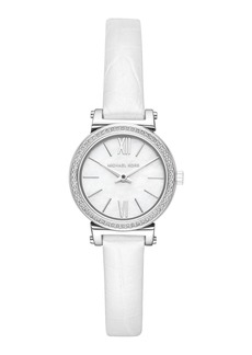 MICHAEL Michael Kors 26mm Sofie Glitz Watch w/ Leather Strap  White