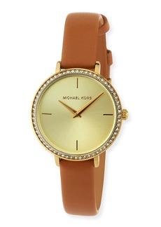 MICHAEL Michael Kors 32mm Crystal-Bezel Watch w/ Leather Strap  Brown/Gold