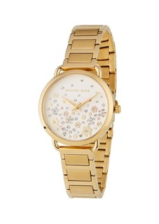 MICHAEL Michael Kors 32mm Portia Crystal Flower Bracelet Watch  Yellow Golden