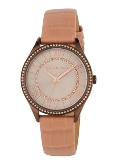 MICHAEL Michael Kors 33mm Lauryn Crystal Watch w/ Leather  Rose/Pink