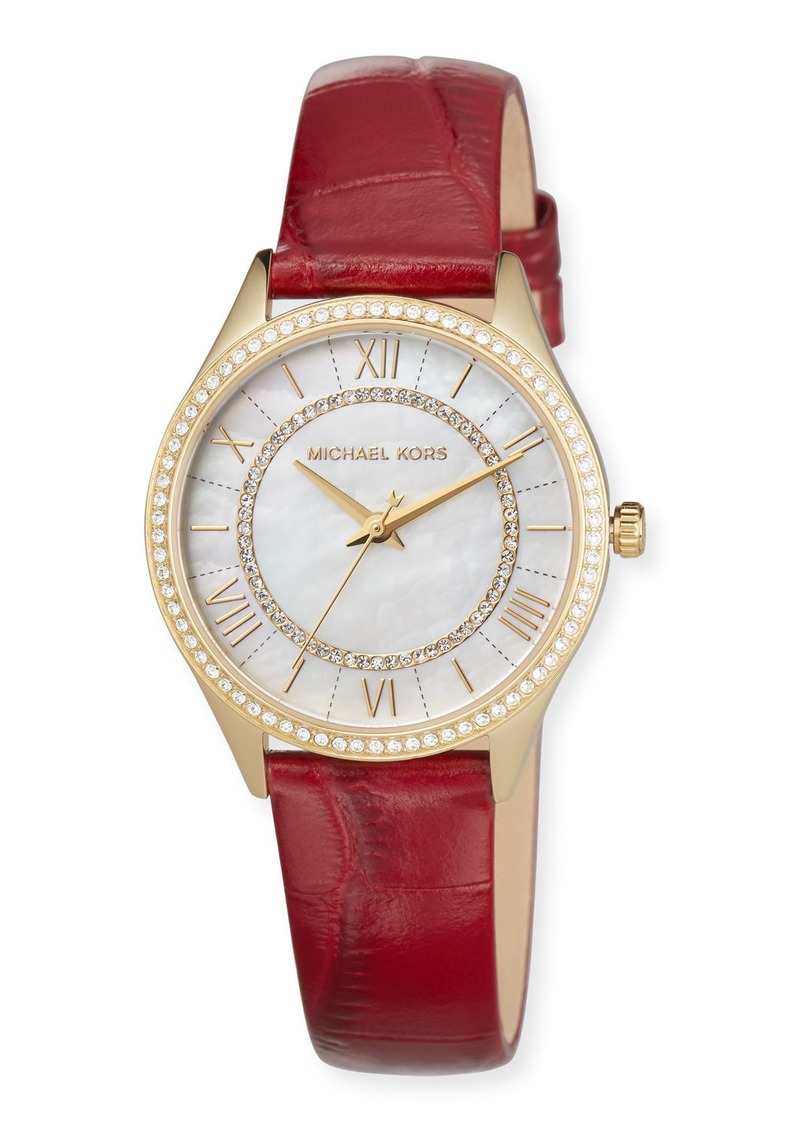 MICHAEL Michael Kors 33mm Mini Lauryn Crystal Watch with Leather Strap  Red