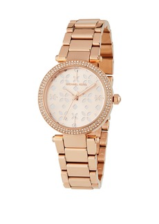 MICHAEL Michael Kors 33mm Mini Parker Flower Cutout Watch w/ Crystals  Rose Golden