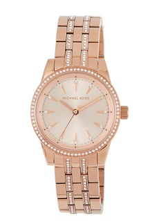 MICHAEL Michael Kors 33mm Mini Ritz Crystal Pave Bracelet Watch  Rose Golden