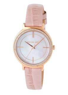MICHAEL Michael Kors 33mm Round Glitz Watch w/ Leather Strap  Pink