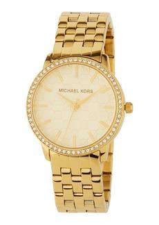 MICHAEL Michael Kors 35mm Crystal & Logo-Argyle Watch  Gold/Glitz