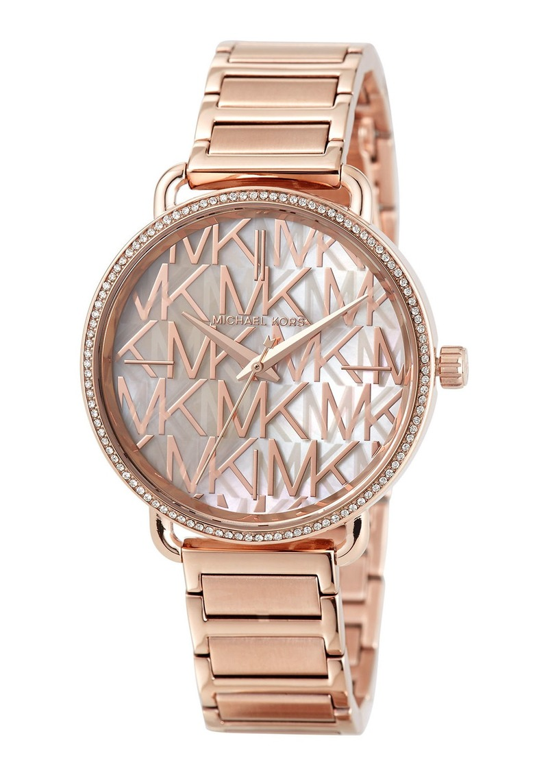 MICHAEL Michael Kors 36.5mm Portia Logo Bracelet Watch w/ Crystals  Rose Golden