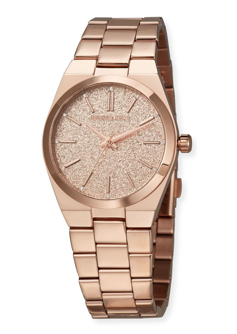 MICHAEL Michael Kors 36mm Channing Glitter Watch w/ Bracelet Strap  Rose Gold