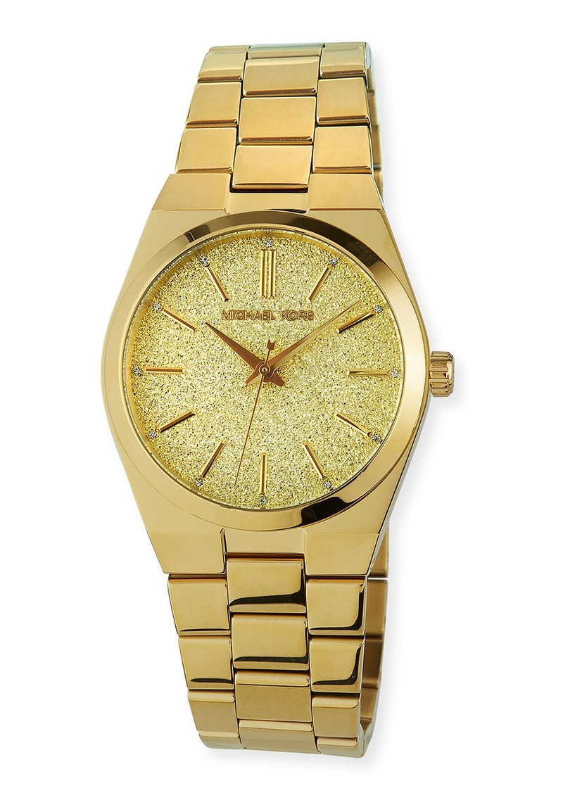 MICHAEL Michael Kors 36mm Glitter Watch w/ Bracelet Strap  Gold
