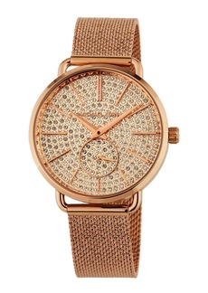 MICHAEL Michael Kors 36mm Portia Crystal Pave Mesh Watch  Rose Gold