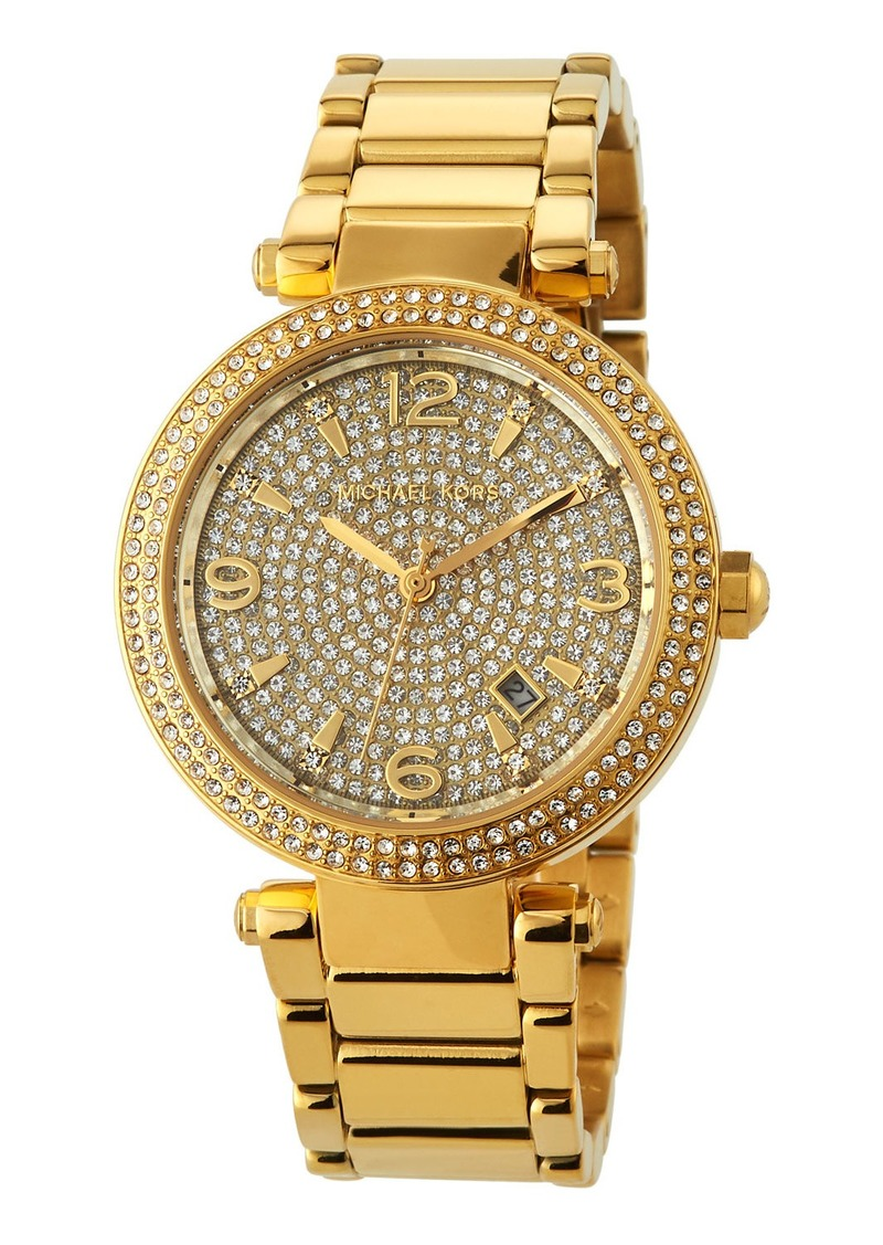 MICHAEL Michael Kors 38mm Crystal Pave Bracelet Watch w/ Date   Yellow golden