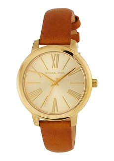 MICHAEL Michael Kors 38mm Hartman Watch w/ Leather Strap  Brown