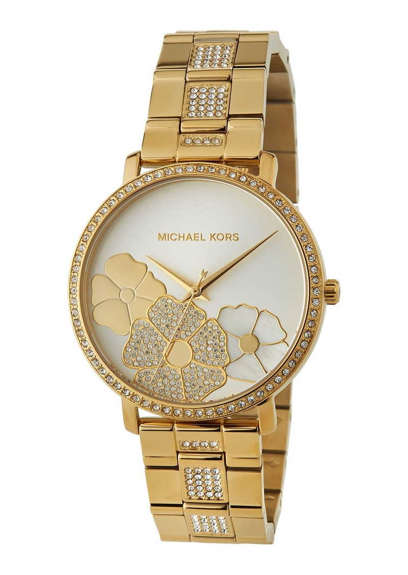 MICHAEL Michael Kors 38mm Jaryn Crystal 3-Flower Bracelet Watch  Yellow Golden