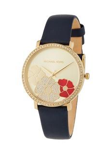 MICHAEL Michael Kors 38mm Jaryn Crystal 3-Flower Leather Watch  Yellow Golden